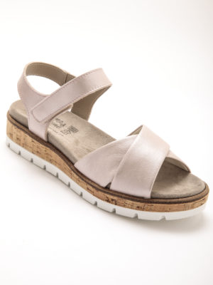 sandale rose semelle compensée cuir