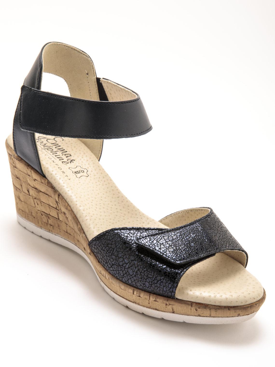 sandale noir imprimé talon compensé