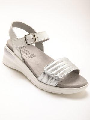 sandale gris argenté cuir confort